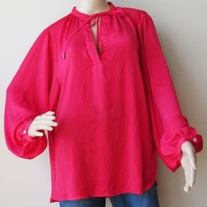 H&M Red Long Sleeve Tie-Neck Plus Size 14 Tunic